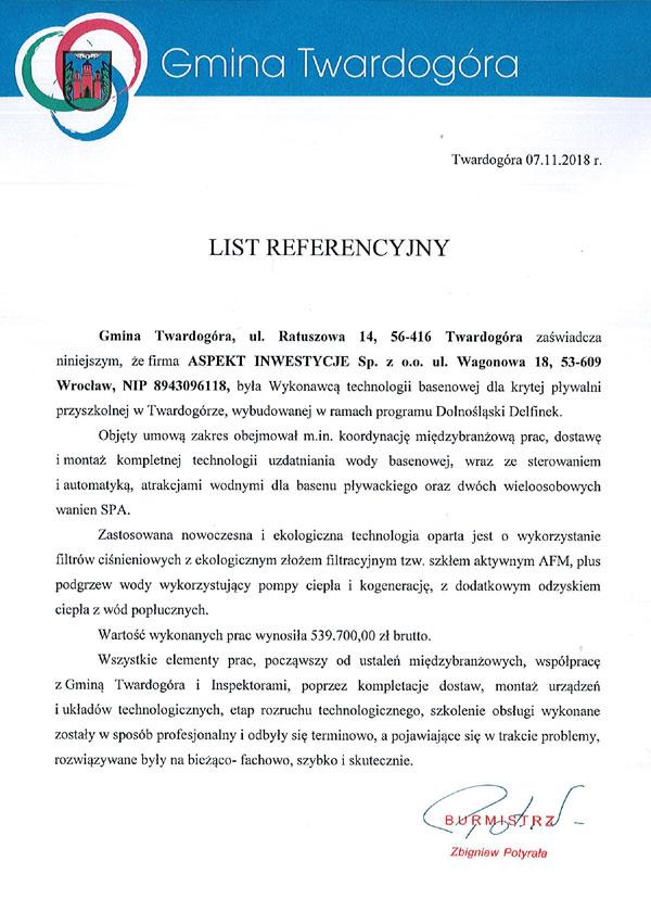 Referencje dla firmy ASPEKT INWESTYCJE SP. z o.o.